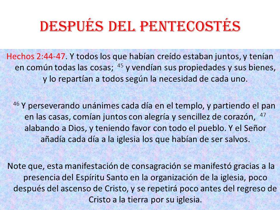 Después del Pentecostés