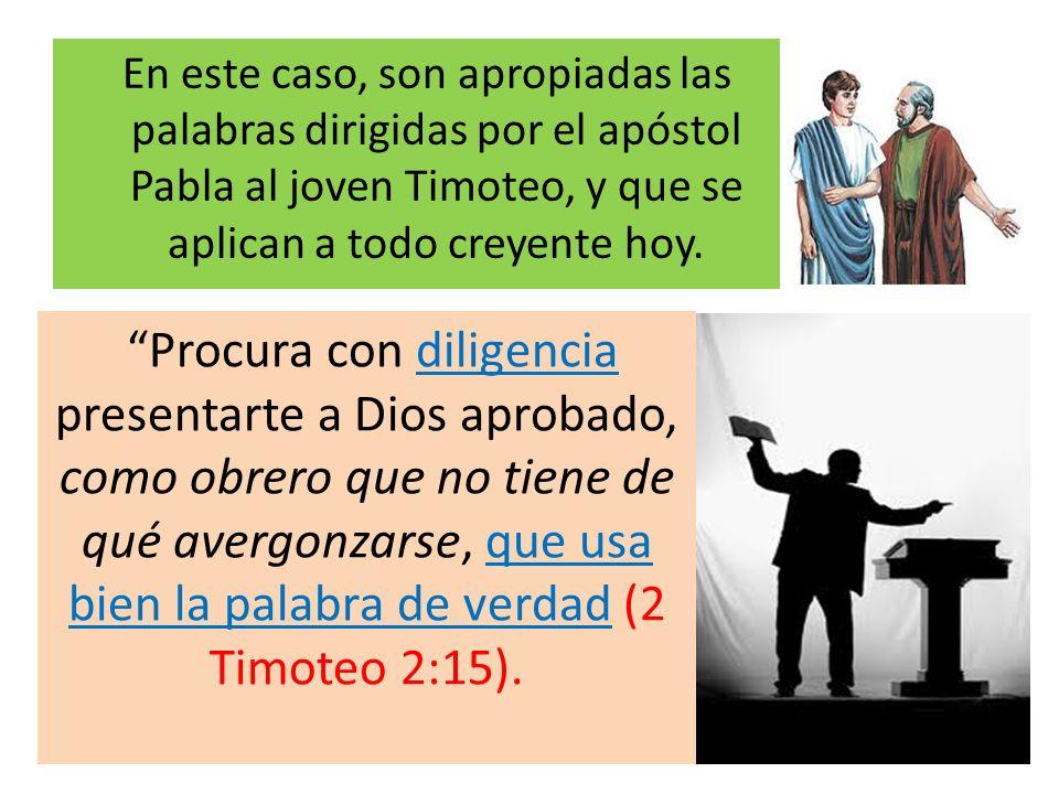 En este caso, son apropiadas las palabras dirigidas por el apóstol Pabla al joven Timoteo, y que se aplican a todo creyente hoy.