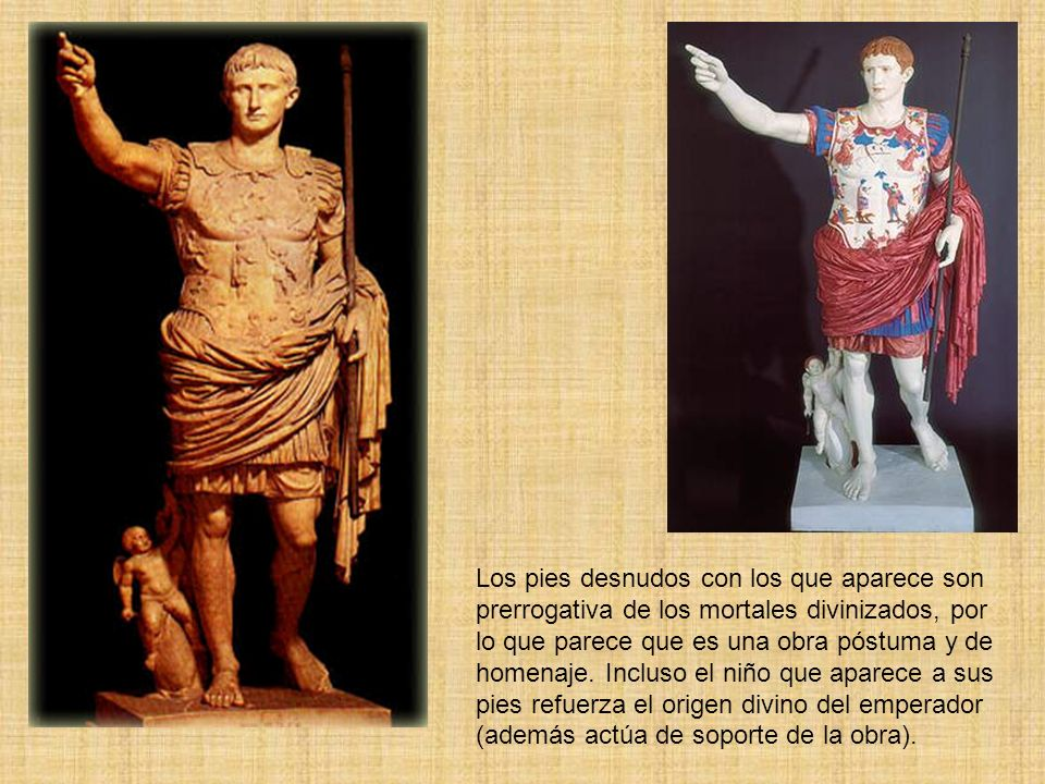 Los pies desnudos con los que aparece son prerrogativa de los mortales divinizados, por lo que parece que es una obra póstuma y de homenaje.