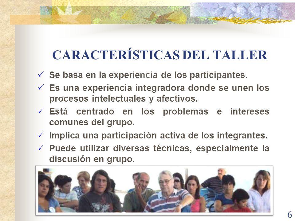 CARACTERÍSTICAS DEL TALLER