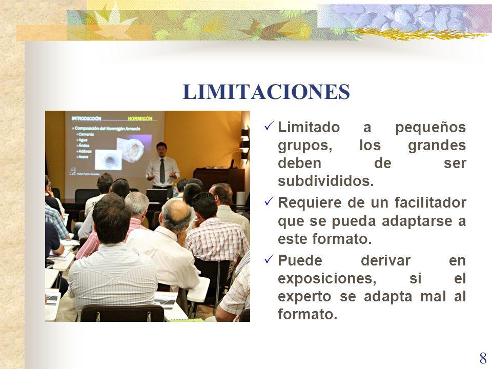 LIMITACIONES Limitado a pequeños grupos, los grandes deben de ser subdivididos. Requiere de un facilitador que se pueda adaptarse a este formato.