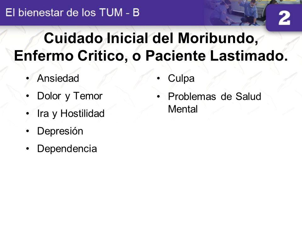 Cuidado Inicial del Moribundo, Enfermo Critico, o Paciente Lastimado.