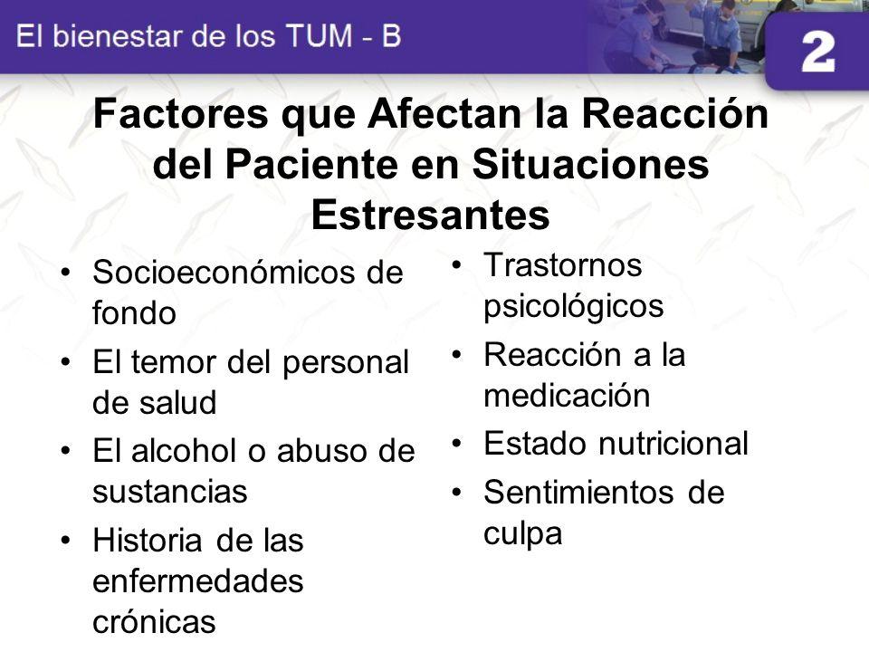 Factores que Afectan la Reacción del Paciente en Situaciones Estresantes