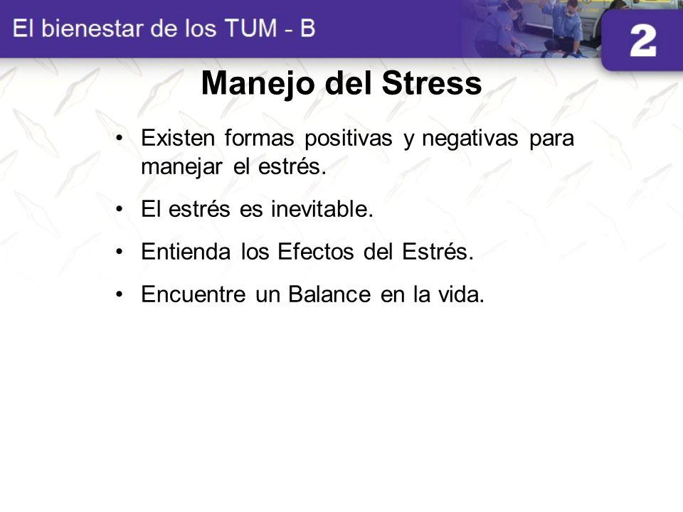 Manejo del Stress Existen formas positivas y negativas para manejar el estrés. El estrés es inevitable.