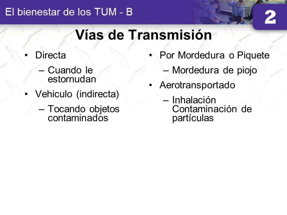 Vías de Transmisión Directa Cuando le estornudan Vehiculo (indirecta)