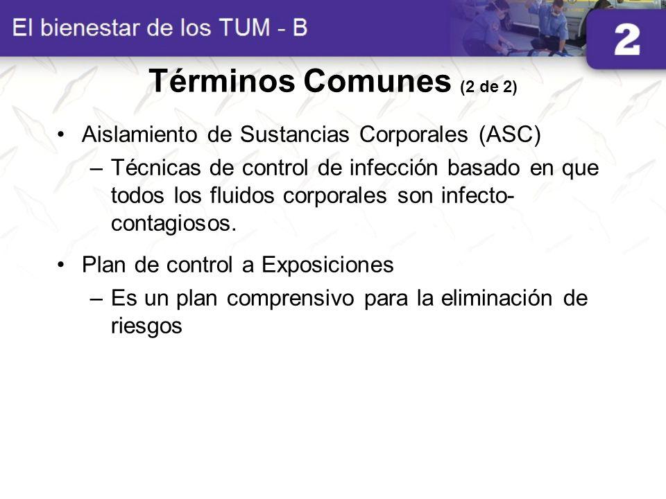 Términos Comunes (2 de 2) Aislamiento de Sustancias Corporales (ASC)