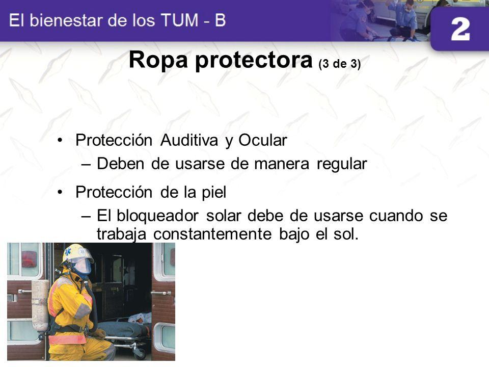 Ropa protectora (3 de 3) Protección Auditiva y Ocular