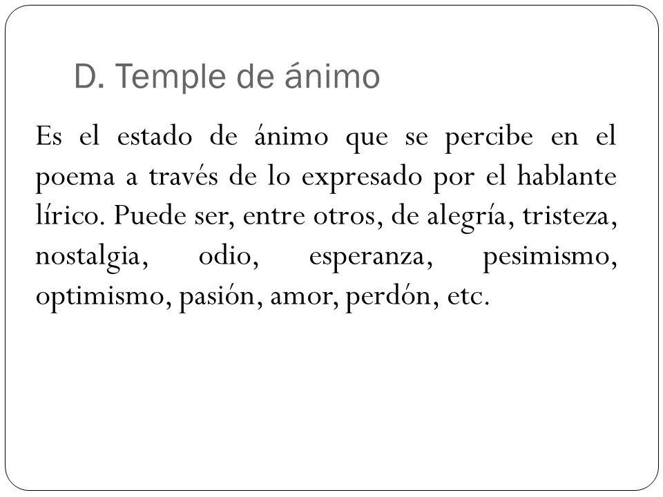 D. Temple de ánimo