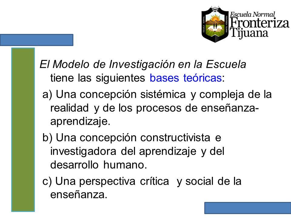 El Modelo de Investigación en la Escuela tiene las siguientes bases teóricas: