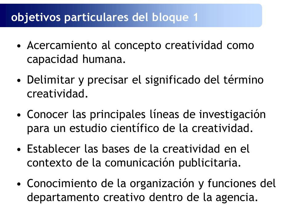 objetivos particulares del bloque 1
