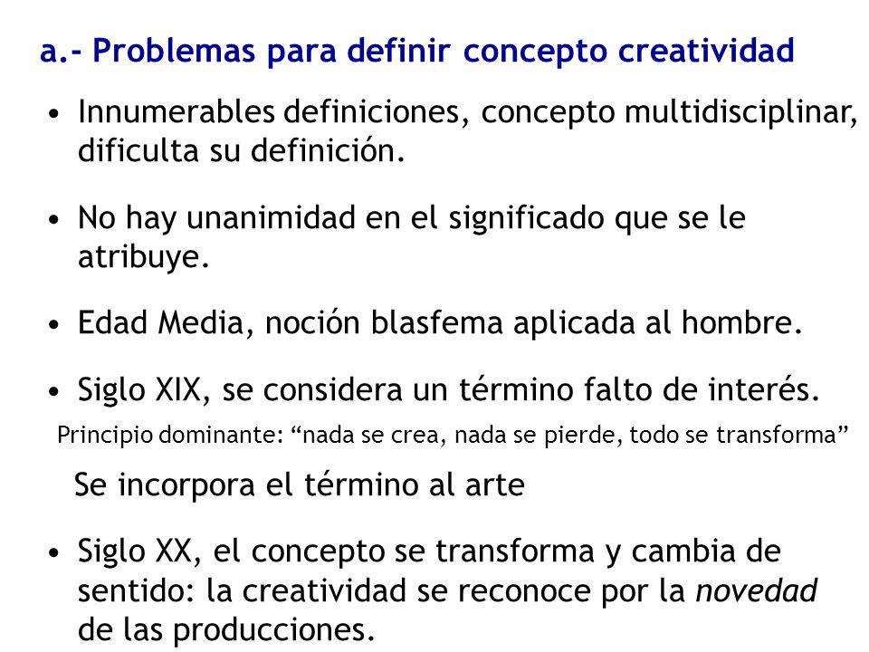 a.- Problemas para definir concepto creatividad