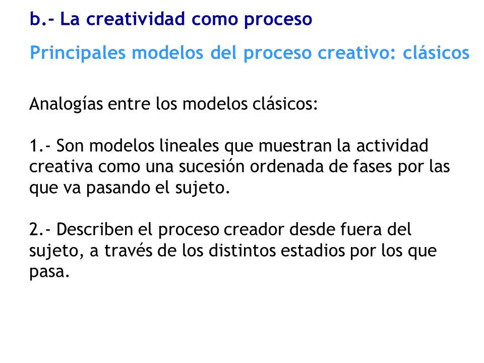 b.- La creatividad como proceso