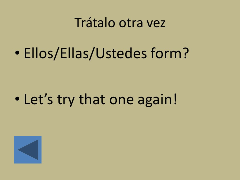 Ellos/Ellas/Ustedes form Let's try that one again!