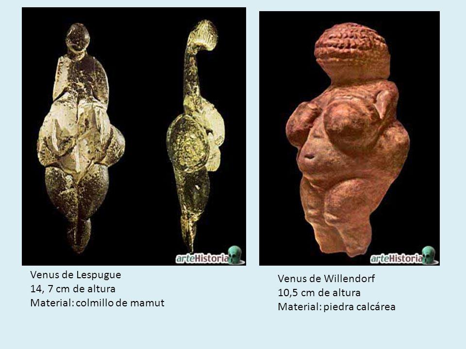 Venus de Lespugue14, 7 cm de altura. Material: colmillo de mamut. Venus de Willendorf. 10,5 cm de altura.