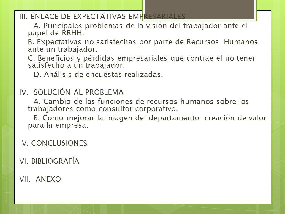 III. ENLACE DE EXPECTATIVAS EMPRESARIALES
