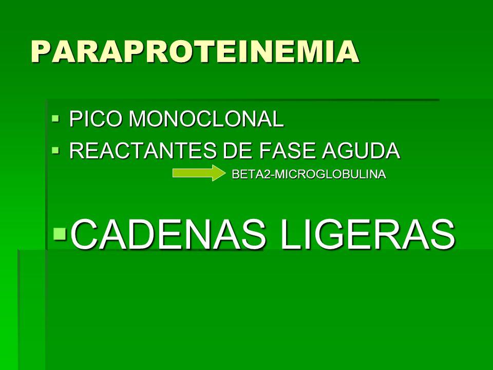 CADENAS LIGERAS PARAPROTEINEMIA PICO MONOCLONAL