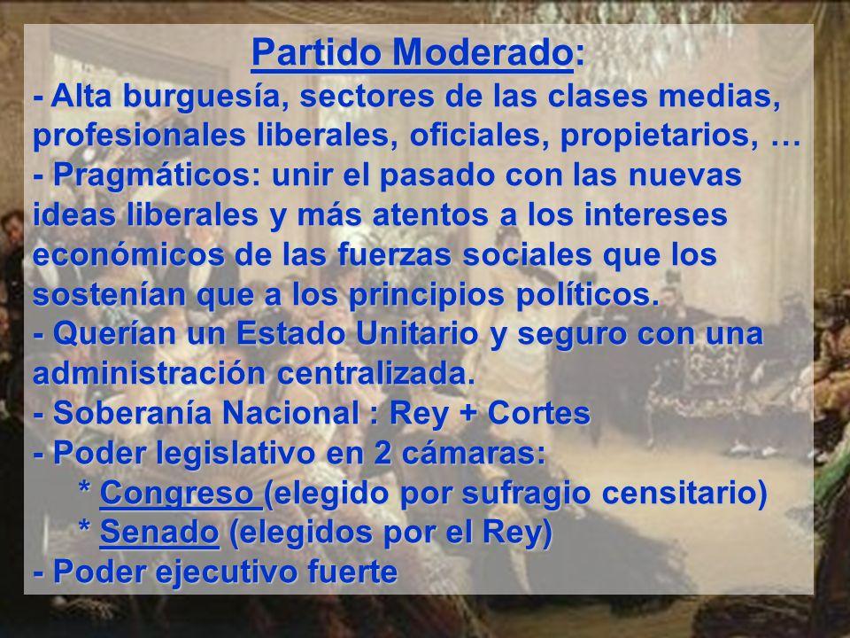 Partido Moderado:- Alta burguesía, sectores de las clases medias, profesionales liberales, oficiales, propietarios, …