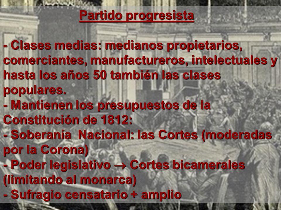 Partido progresista- Clases medias: medianos propietarios, comerciantes, manufactureros, intelectuales y.