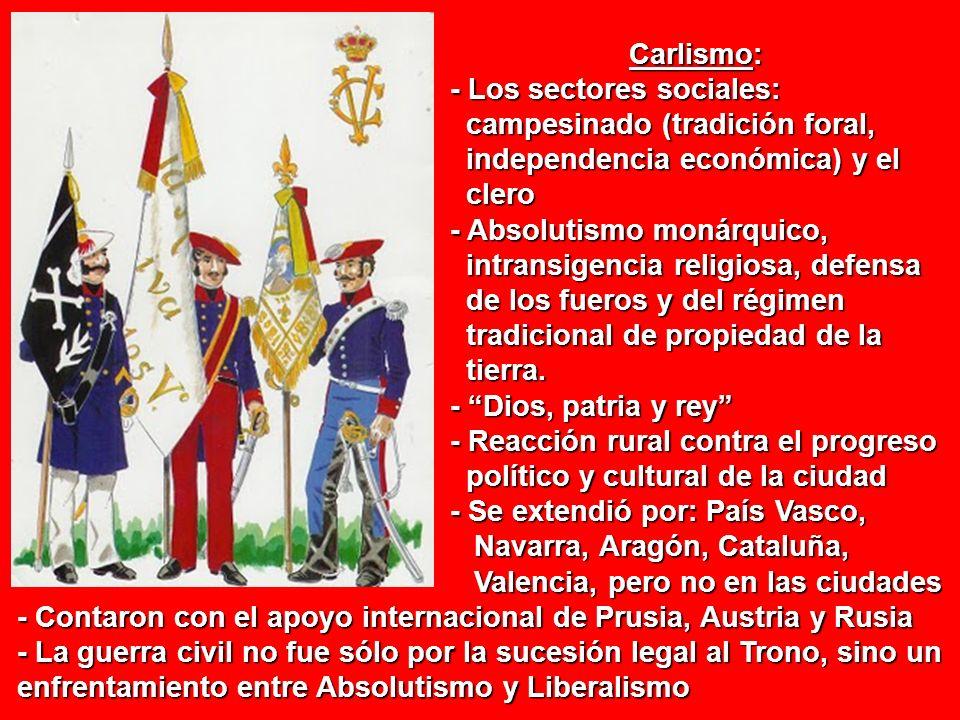 Carlismo:- Los sectores sociales: campesinado (tradición foral, independencia económica) y el. clero.