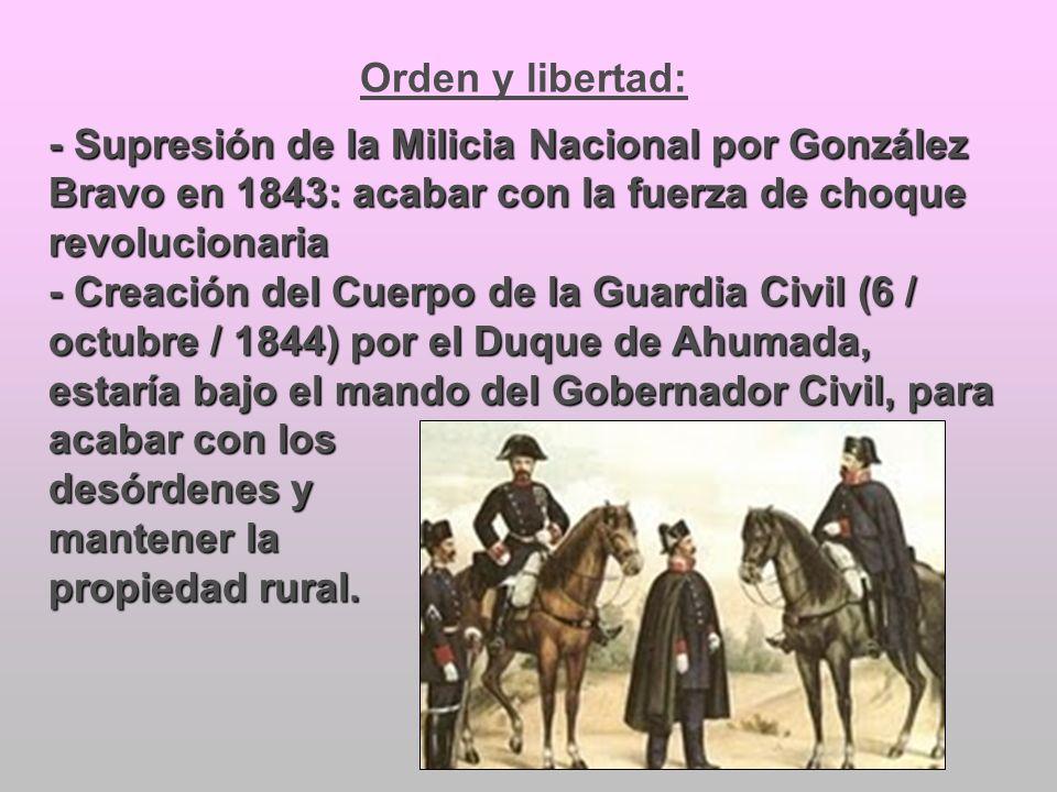 Orden y libertad:- Supresión de la Milicia Nacional por González Bravo en 1843: acabar con la fuerza de choque revolucionaria.