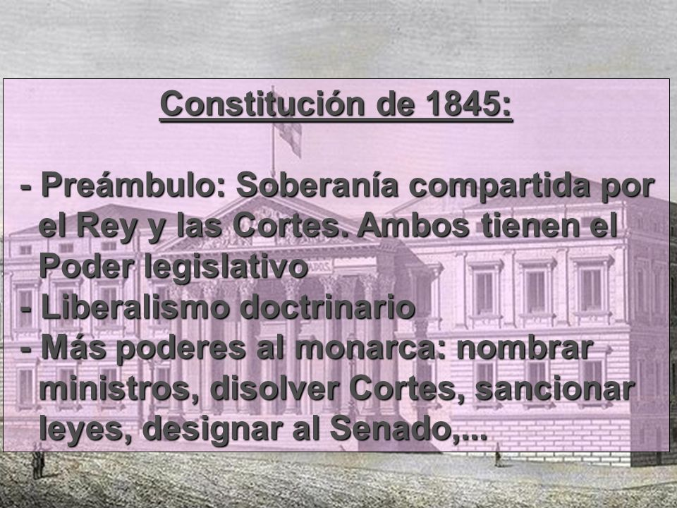 Constitución de 1845:- Preámbulo: Soberanía compartida por. el Rey y las Cortes. Ambos tienen el. Poder legislativo.