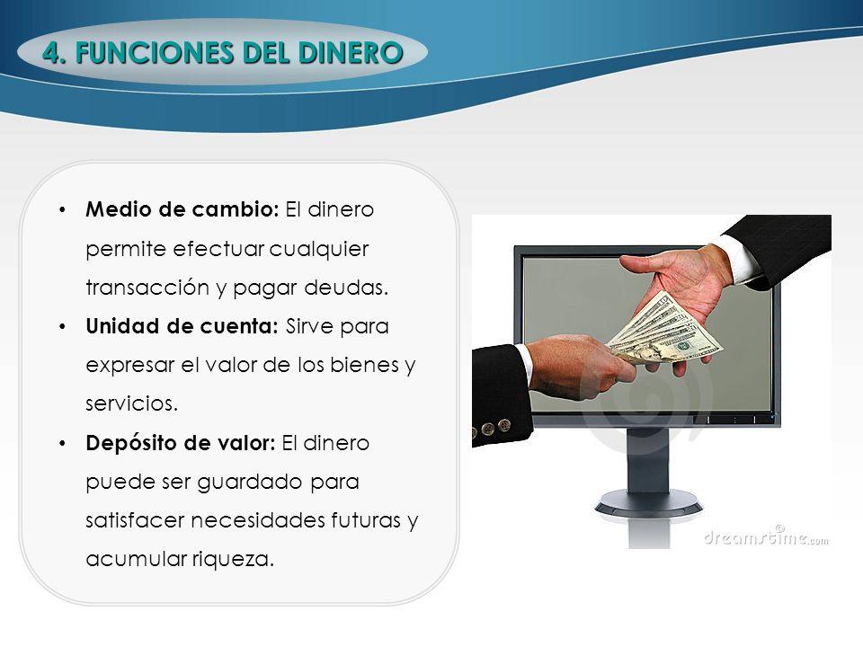 4. FUNCIONES DEL DINERO Medio de cambio: El dinero permite efectuar cualquier transacción y pagar deudas.