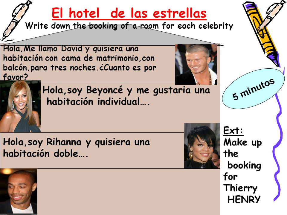El hotel de las estrellas Write down the booking of a room for each celebrity