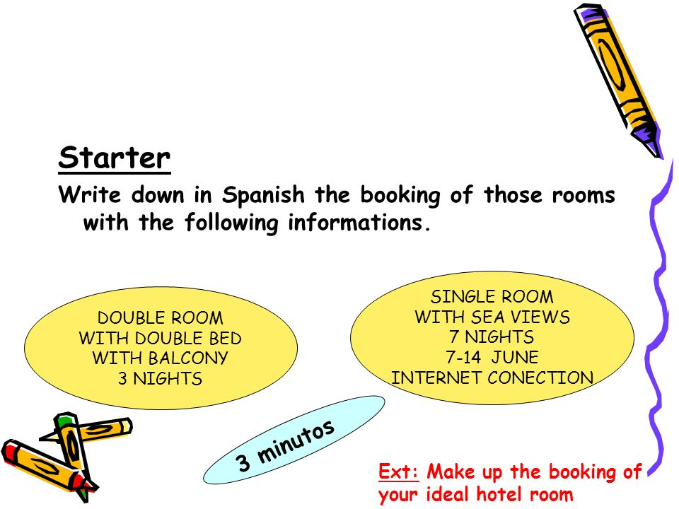 StarterWrite down in Spanish the booking of those rooms with the following informations. SINGLE ROOM.