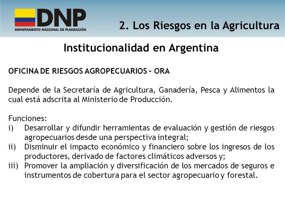 2. Los Riesgos en la Agricultura Institucionalidad en Argentina