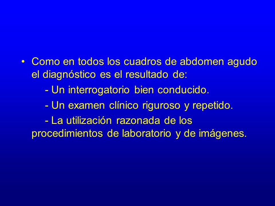 Como en todos los cuadros de abdomen agudo el diagnóstico es el resultado de: