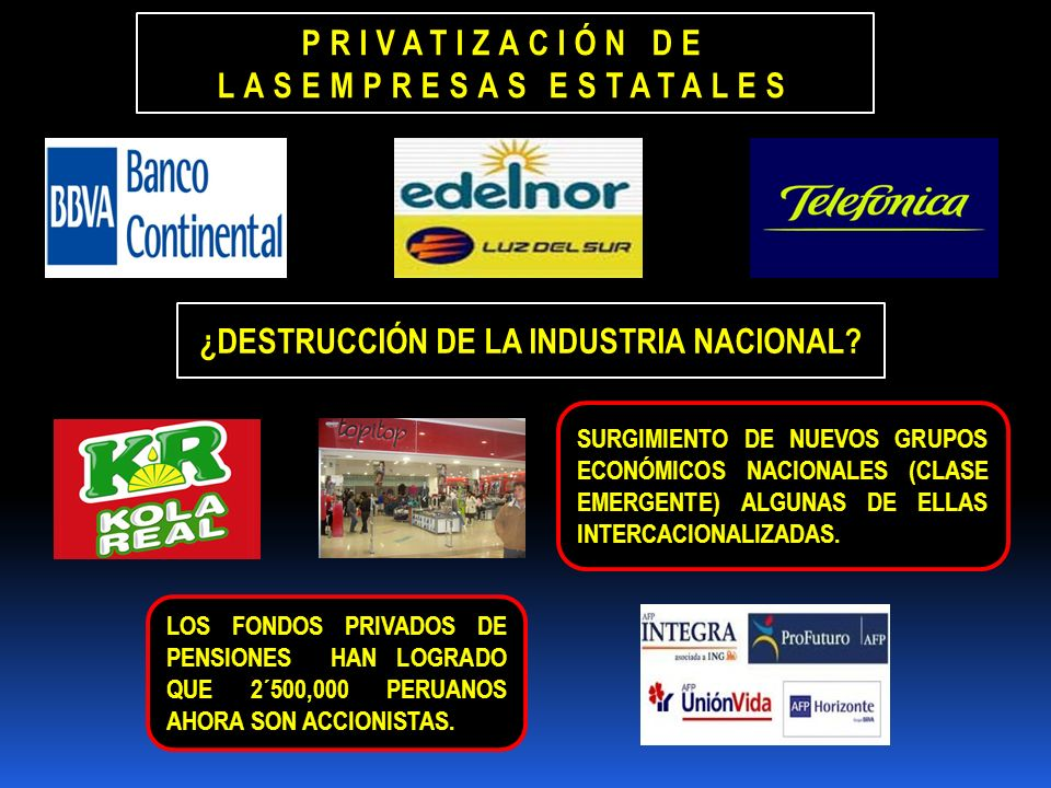 PRIVATIZACIÓN DE LASEMPRESAS ESTATALES