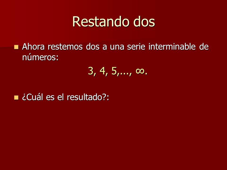 Restando dos Ahora restemos dos a una serie interminable de números: 3, 4, 5,..., ∞.