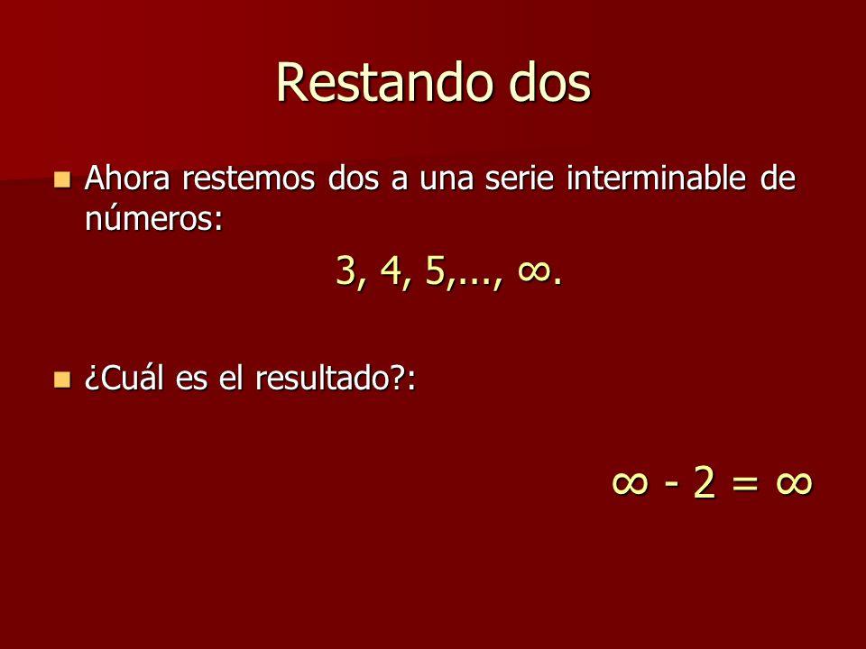 Restando dos Ahora restemos dos a una serie interminable de números: 3, 4, 5,..., ∞. ¿Cuál es el resultado :