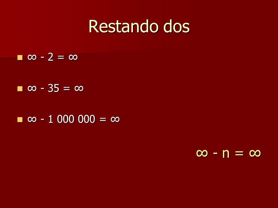 Restando dos ∞ - 2 = ∞ ∞ - 35 = ∞ ∞ - 1 000 000 = ∞ ∞ - n = ∞