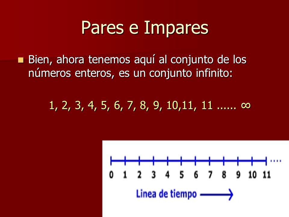 Pares e Impares Bien, ahora tenemos aquí al conjunto de los números enteros, es un conjunto infinito: