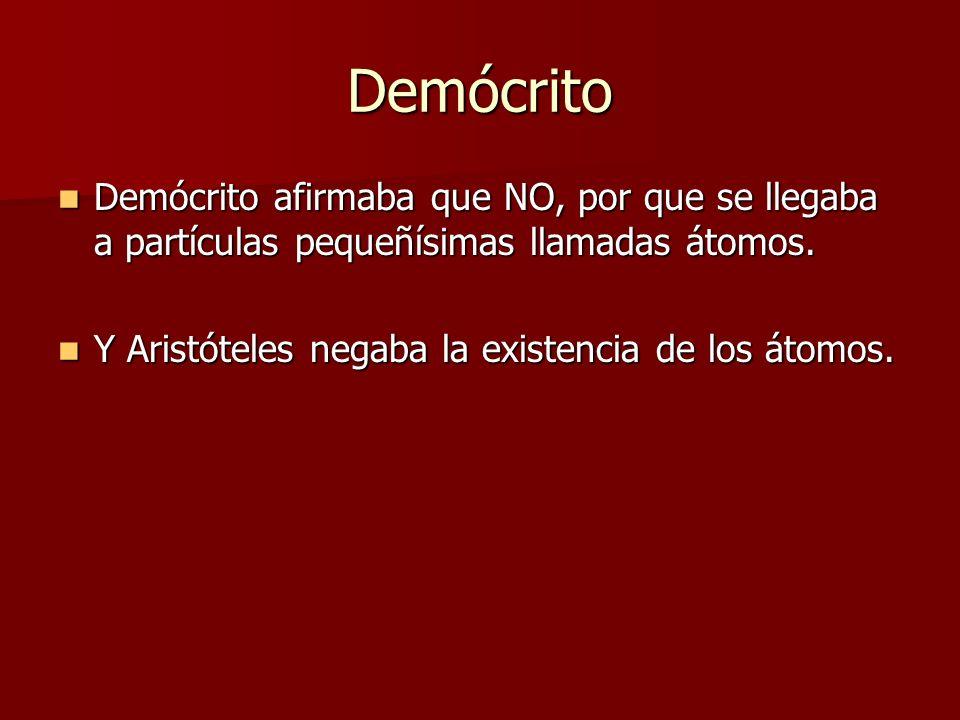 Demócrito Demócrito afirmaba que NO, por que se llegaba a partículas pequeñísimas llamadas átomos.