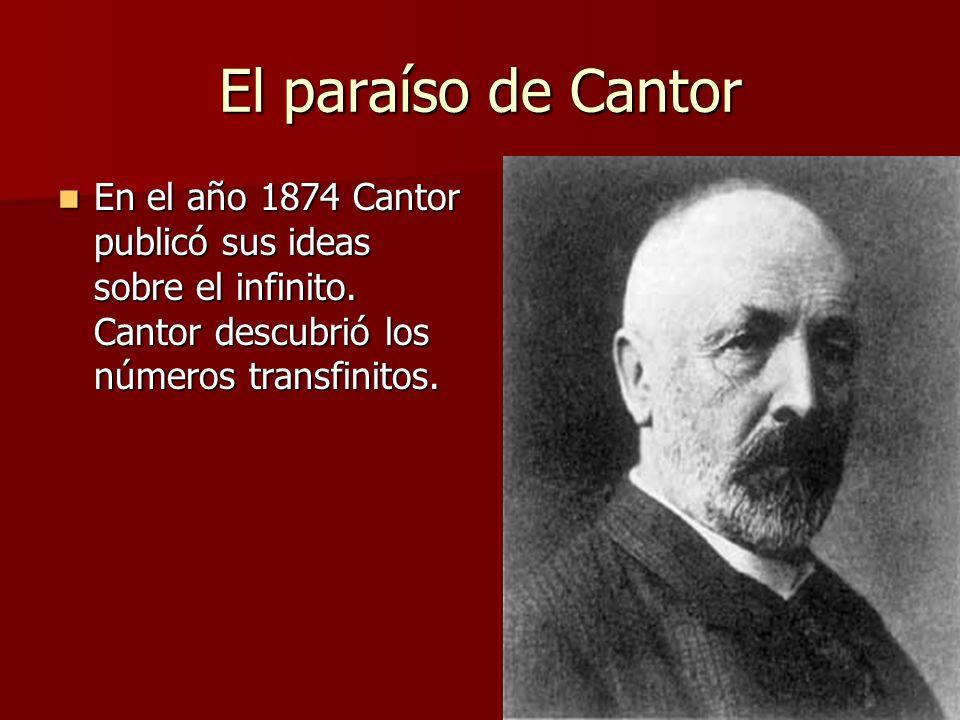 El paraíso de Cantor En el año 1874 Cantor publicó sus ideas sobre el infinito.