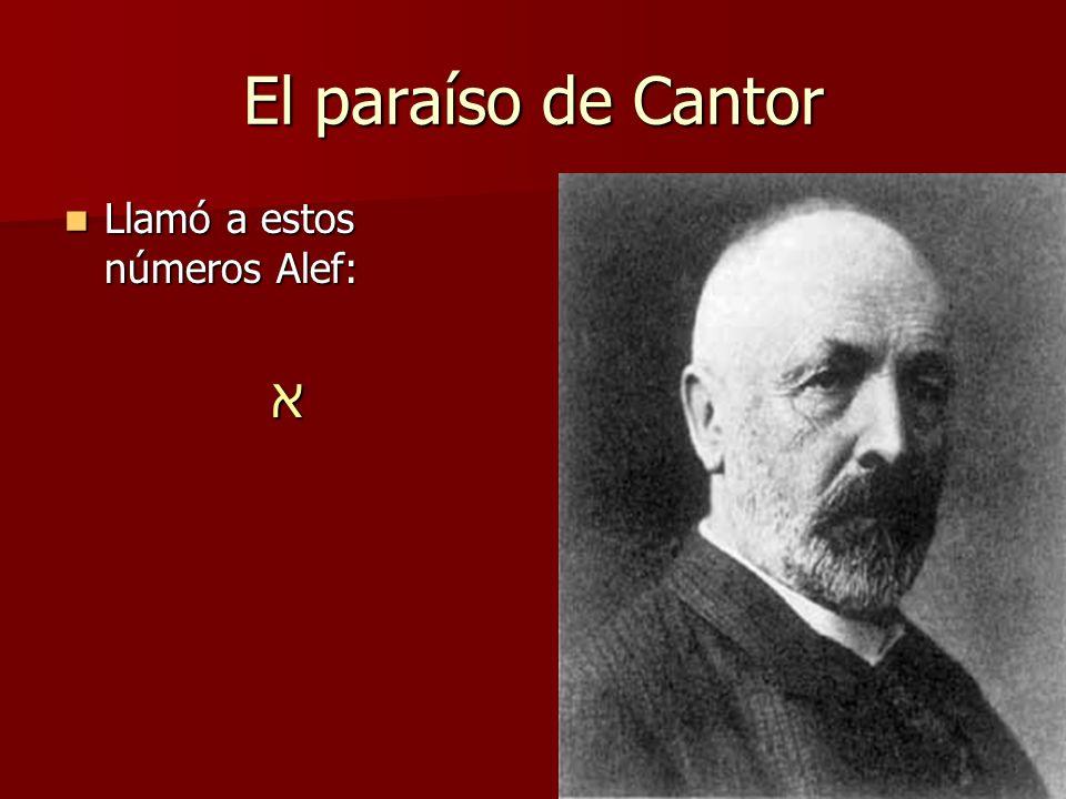 El paraíso de Cantor Llamó a estos números Alef: א