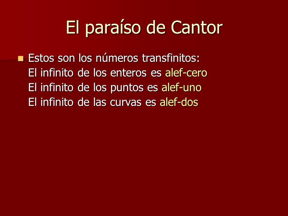 El paraíso de Cantor Estos son los números transfinitos: