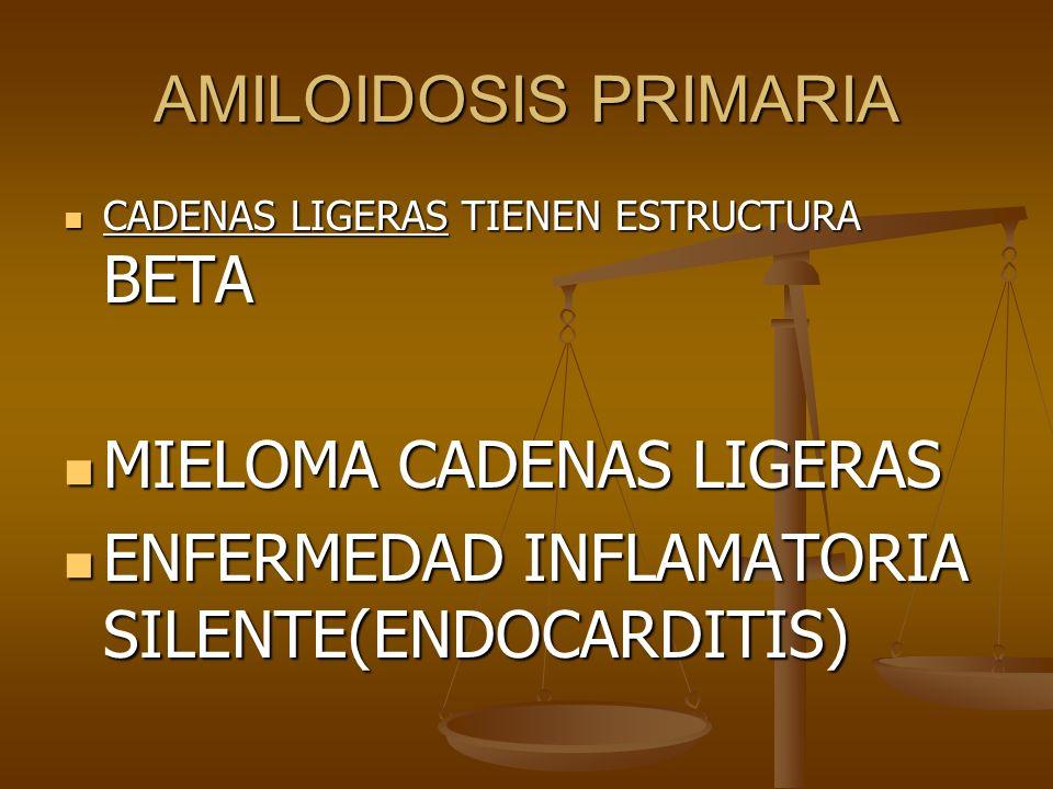 MIELOMA CADENAS LIGERAS ENFERMEDAD INFLAMATORIA SILENTE(ENDOCARDITIS)