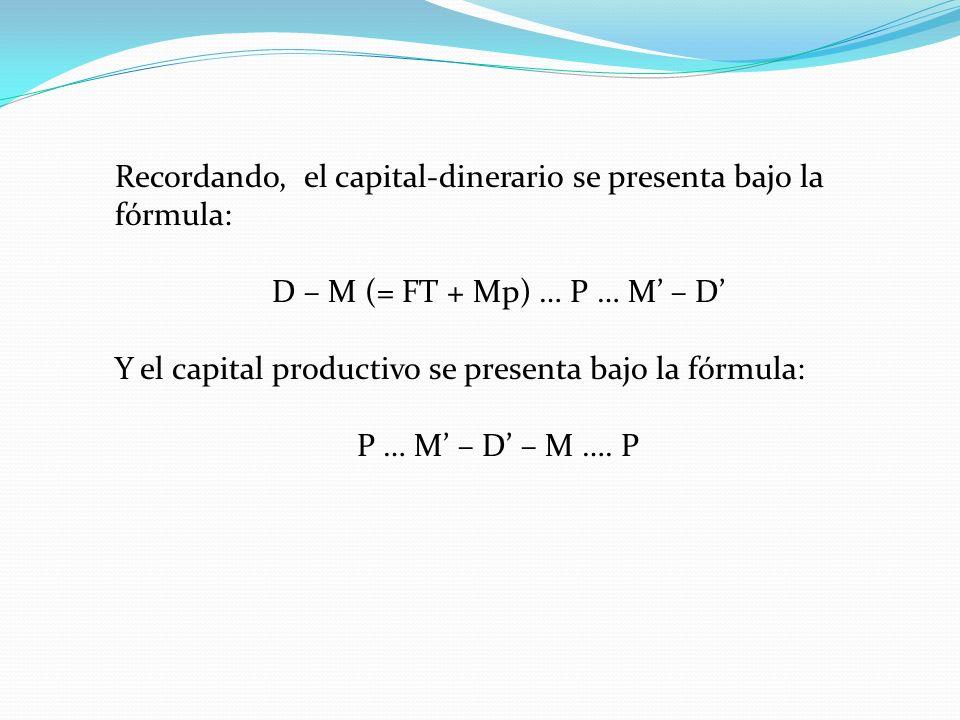 Recordando, el capital-dinerario se presenta bajo la fórmula: