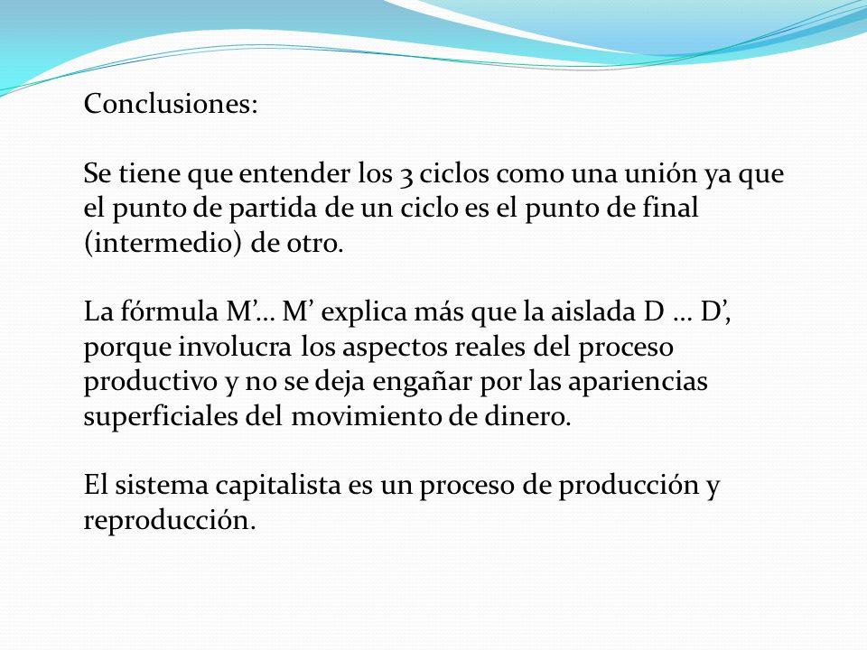 Conclusiones:Se tiene que entender los 3 ciclos como una unión ya que el punto de partida de un ciclo es el punto de final (intermedio) de otro.