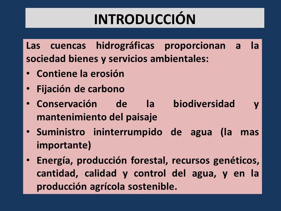 INTRODUCCIÓN Las cuencas hidrográficas proporcionan a la sociedad bienes y servicios ambientales: Contiene la erosión.