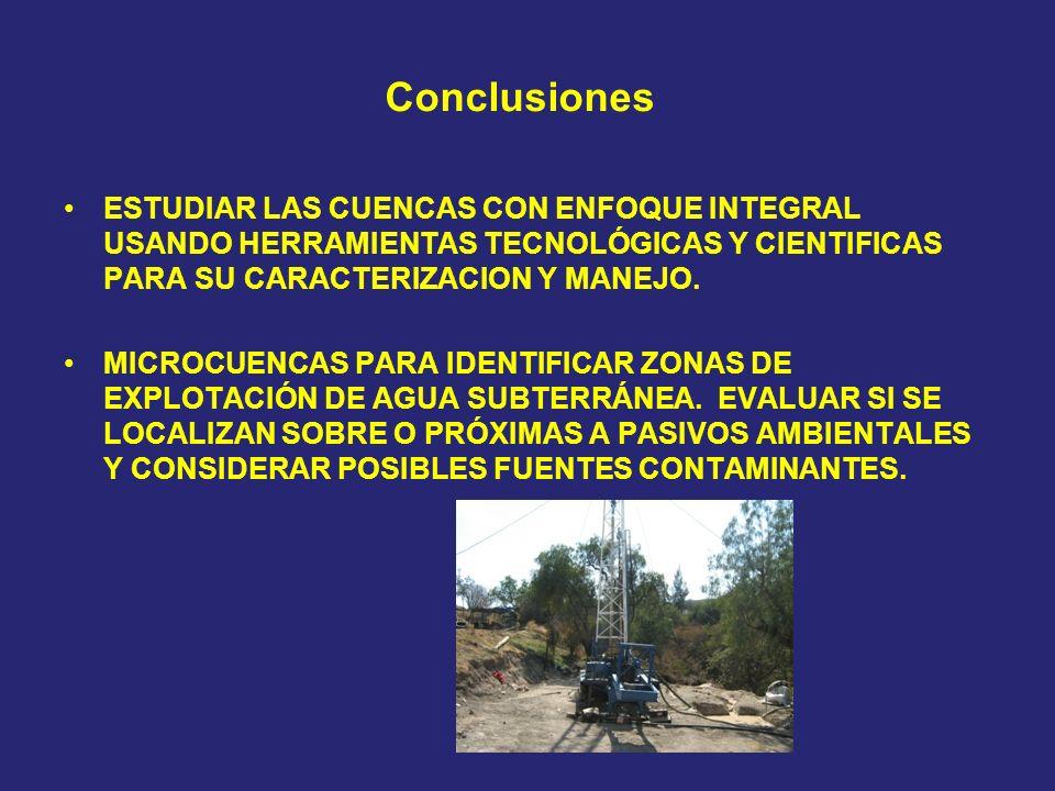 Conclusiones ESTUDIAR LAS CUENCAS CON ENFOQUE INTEGRAL USANDO HERRAMIENTAS TECNOLÓGICAS Y CIENTIFICAS PARA SU CARACTERIZACION Y MANEJO.