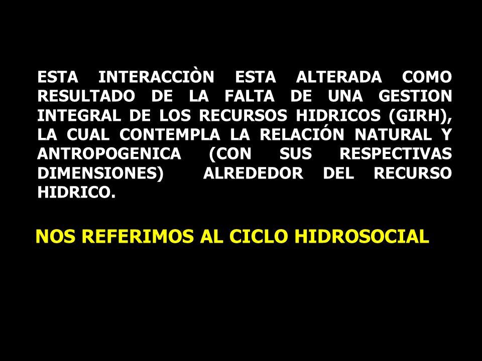 NOS REFERIMOS AL CICLO HIDROSOCIAL