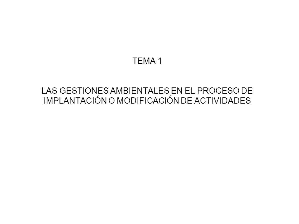 TEMA 1 LAS GESTIONES AMBIENTALES EN EL PROCESO DE IMPLANTACIÓN O MODIFICACIÓN DE ACTIVIDADES