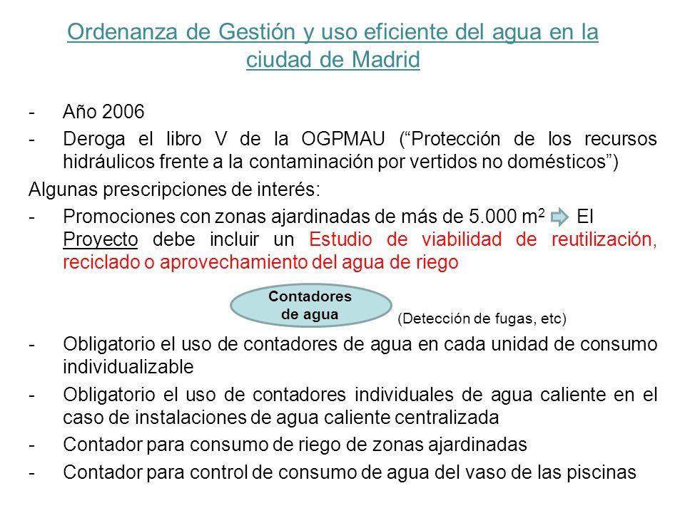 Ordenanza de Gestión y uso eficiente del agua en la ciudad de Madrid