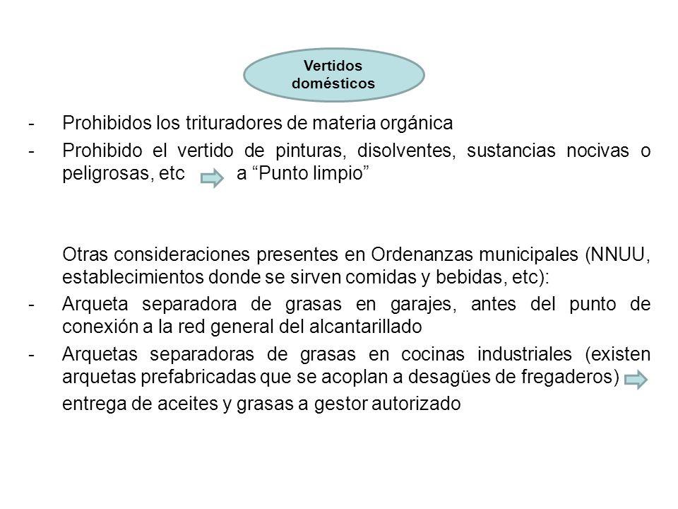 Prohibidos los trituradores de materia orgánica