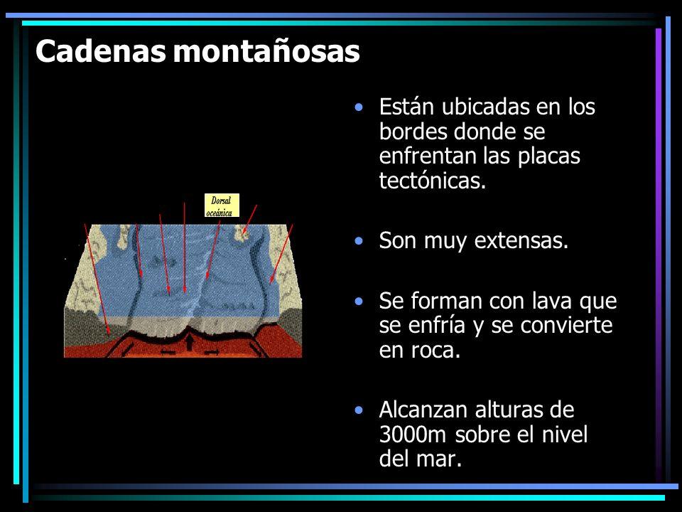 Cadenas montañosas Están ubicadas en los bordes donde se enfrentan las placas tectónicas. Son muy extensas.