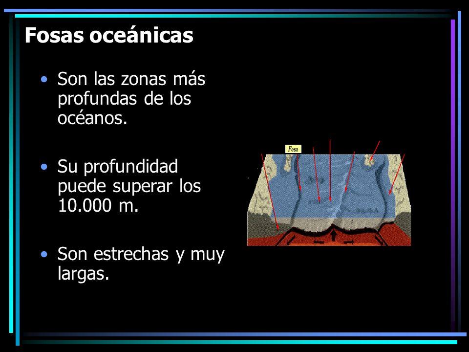 Fosas oceánicas Son las zonas más profundas de los océanos.